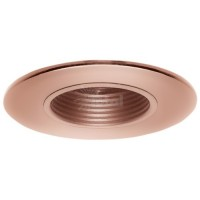 "2"" Recessed lighting adjustable 35 degree tilt copper stepped baffle trim"