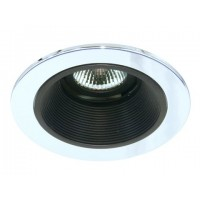 "4"" Low voltage recessed lighting black baffle chrome trim"
