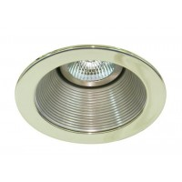 "4"" Low voltage recessed lighting satin baffle polished brass trim"
