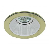 "4"" Low voltage recessed lighting white baffle polished brass trim"