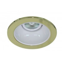 "4"" Low voltage recessed lighting white reflector polished brass trim"