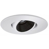 "4"" Low voltage recessed lighting adjustable black baffle white pinhole eyeball trim"