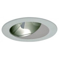 "4"" Recessed lighting specular clear chrome reflector white wall wash trim"