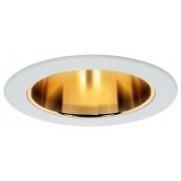 """4"""" Recessed lighting compact fluorescent (CFL) clear glass lens gold reflector white shower trim"""
