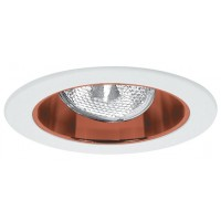 "4"" Recessed lighting adjustable socket bracket specular copper reflector white trim"