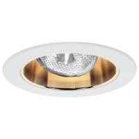 """4"""" Recessed lighting adjustable socket bracket specular gold reflector white trim"""
