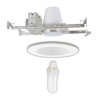 "4"" Recessed lighting miniature 18 watt PL fluorescent air tight 120/277volt electronic white baffle kit"