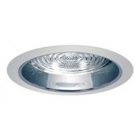 "5"" Recessed compact fluorescent reflector trim w/ fresnel lens chrome/ white"