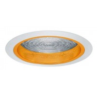 """5"""" Recessed compact fluorescent reflector trim w/ fresnel lens gold/ white"""