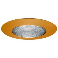 "6"" Recessed lighting fresnel lens polished brass shower trim"