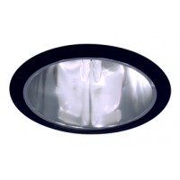 """6"""" Recessed lighting compact fluorescent specular clear chrome cone reflector black trim"""