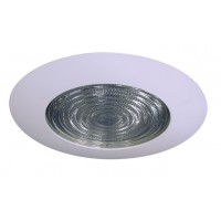 "6"" Recessed lighting compact fluorescent fresnel glass lens white shower trim"