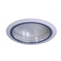 "6"" Recessed lighting compact fluorescent albalite glass lens specular clear chrome reflector white shower trim"