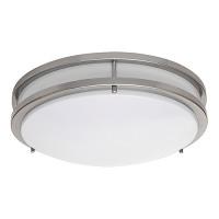"LED 17"" two ring satin nickel ceiling surface light flush mount cool white 4000K dimmable LED-JR003L/NKL"