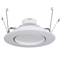 "6"" LED recessed lighting retrofit white eyeball trim 15watt dimmable fully adjustable"