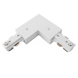 Track lighting architectural white L Connector 3-wire H-style power feed single circuit