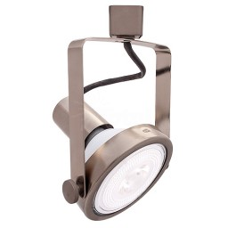 LED Brushed SATIN NICKEL gimbal track light with PAR38 LED bulb