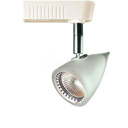 White glass tear drop MR16 low voltage track light fixture