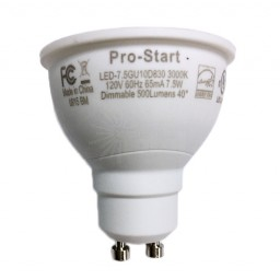Track lighting Pro-Start LED 7.5watt GU10 MR16 3000K 40° flood light bulb dimmable LED-7.5GU10D830