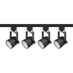 LED Mini round black track lighting kit, 4 lights, 4-foot track, complete ready to go system warm white LED