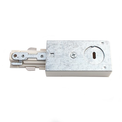 Track Lighting Architectural White Live End Power Feed Connector 3 Wire  H Style Single Circuit