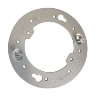 "4"" flat round open junction box universal mounting bracket with ears 2-3/4"" O.C. 4R000S"