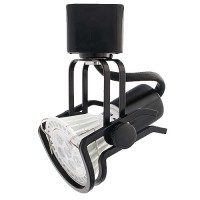 LED BLACK wire gimbal ring track light fixture  includes GU10 MR16 120volt bulb