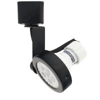 LED BLACK gimbal ring track light fixture includes a warm white GU10 MR16 120volt bulb