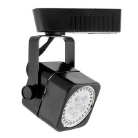 Black soft square MR16 low voltage track light fixture head