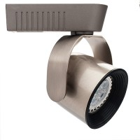 Black baffle satin round back bullet MR16 low voltage track light fixture H-style 3-wire