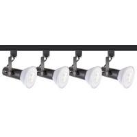 LED Basic black track lighting kit, 4 lights, 4-foot track, complete ready to go system warm white LED