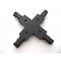 Track lighting Architectural Black X Connector 3-wire H-style power feed single circuit