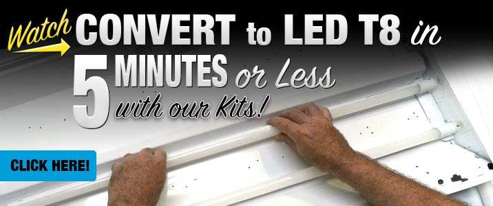 Convert from Fluorescent to LED T8 in 5 minutes or less