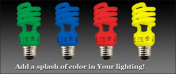 Buy Colored Spiral Compact Fluorescent Light Bulbs